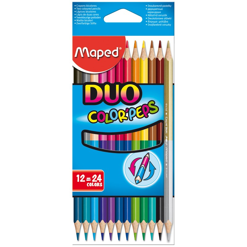 цветные карандаши 24 цвета MAPED Color Peps DUO 829600